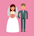 wedding couple beautiful model girl in white dress vector image