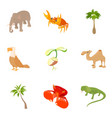 animality icons set cartoon style vector image