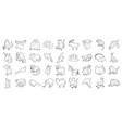animals icon set outline style vector image