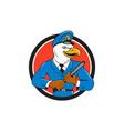 Bald Eagle Policeman Baton Circle Cartoon vector image vector image