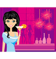Beautiful disco girl with drink vector image vector image