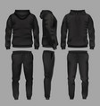 black man sportswear hoodie and trousers mockup vector image vector image