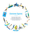 cartoon extreme sports people banner card circle vector image