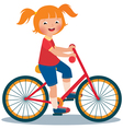 Child girl rides a bike vector image