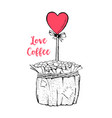 coffee pot with heart on stick vector image