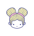 colorful girl head with two buns hair design vector image vector image