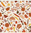 cookware kitchen seamless pattern in brown shades vector image vector image