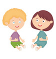 cute little kids couple characters vector image