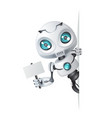 cute robot look out corner technology science vector image vector image