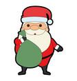 cute santa claus with bag kawaii character vector image vector image