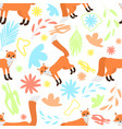 cute seamless pattern foxes on abstract floral vector image vector image