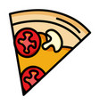 delicious italian pizza portion icon vector image