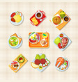 dishes with food top view set tasty asian and vector image