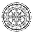 Doodle snowflake on ethnic christmas mandala vector image vector image