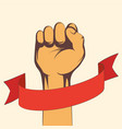 fist hand male with blank red ribbon vector image