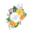 floral greeting card flower frame over white vector image vector image