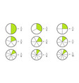 fraction pie divided into slices fractions vector image vector image