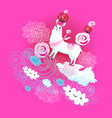 funny animals on a white alpaca with a rose vector image