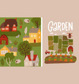 garden agriculture banners set gardening and vector image