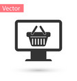 grey computer monitorwith shopping basket icon vector image vector image