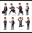 group of businessman teamwork with portfolio vector image vector image