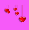 hanging red glass hearts happy valentines day card vector image