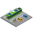 isometric an electric bus a bus that is powered vector image vector image