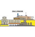 italy syracuse city skyline architecture vector image vector image