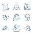 man love clapping hands and reception desk icons vector image vector image