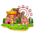 many children playing rides at funpark vector image vector image