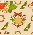 merry christmas symbolic food and plant seamless vector image vector image