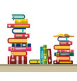 pile of books in library or bookstore flat design vector image vector image