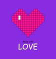 pixel art heart in plastic pink on proton purple vector image vector image