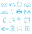 post and mail blue outline icons set eps10 vector image vector image