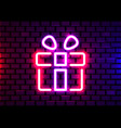 realistic isolated neon sign gift logo vector image