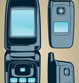 retro flip cell phone communications graphi vector image
