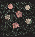 roses embroidery background vector image