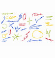 set hand-drawn arrows vector image vector image
