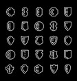 set shields icons isolated on white vector image vector image