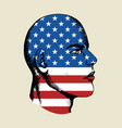 sketch of a face with usa insignia vector image