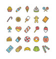 sweets and bakery icon thin line set vector image