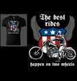 t-shirt design with motorcyclist and slogan vector image vector image