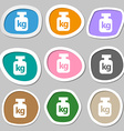 Weight symbols Multicolored paper stickers vector image vector image