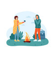 woman and man travelers standing near campfire vector image vector image