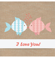 Valentine card fish Kraft paper vector image