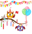 greeting card with funny owls vector image