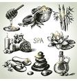 Spa sketch icon set vector image