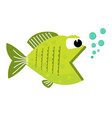 cute cartoon fish with blowing bubbles vector image