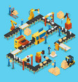 isometric automated production line concept vector image