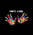art lab icon painted hands inspiration concept vector image